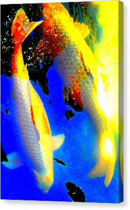 Fish Pond Canvas Print - Koi Story Two A by Randall Weidner