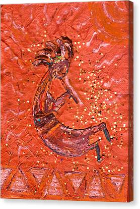 Kokopelli Bright Canvas Print by Anne-Elizabeth Whiteway