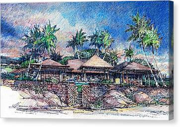 Canvas Print featuring the drawing Kona Residence by Andrew Drozdowicz
