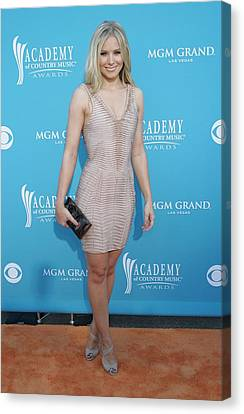 Kristen Bell Wearing A Herve Leger Canvas Print by Everett