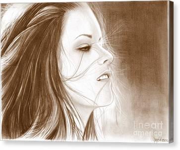 Kristen Stewart - Sepia Canvas Print by Crystal Rosene