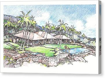 Canvas Print featuring the drawing Kukio Home by Andrew Drozdowicz