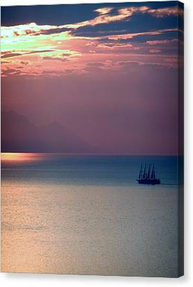 Kusadasi Sunset Canvas Print by Steve Mangan