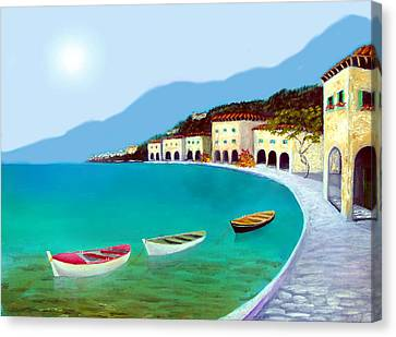 La Citta Sul Mare Canvas Print by Larry Cirigliano