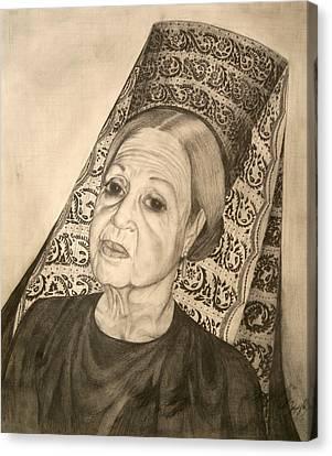 La Dona With Spanish Mantilla Canvas Print by Susanne Perez