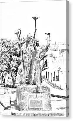 La Rogativa Sculpture Old San Juan Puerto Rico Black And White Line Art Canvas Print by Shawn O'Brien