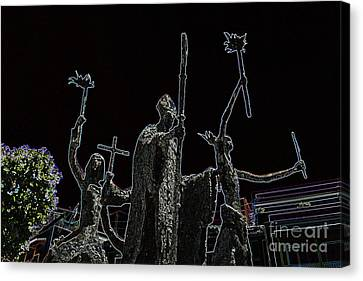 La Rogativa Statue Old San Juan Puerto Rico Glowing Edges Canvas Print by Shawn O'Brien