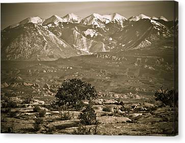 La Sal Mountains Utah Canvas Print by Marilyn Hunt