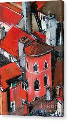 La Tour Rose In Lyon 2 Canvas Print by Mona Edulesco