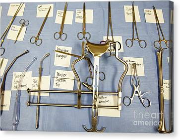 Sticky Note Canvas Print - Labeled Surgical Tools by Skip Nall