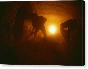 Laborers Clear Rubble From The Tomb Canvas Print by Kenneth Garrett