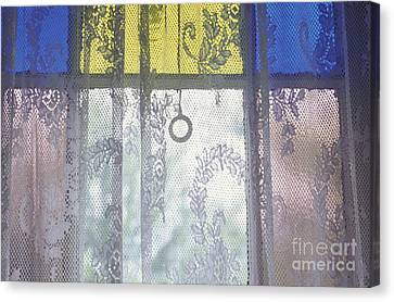Lace Curtain And Stained Glass Window Panes Canvas Print