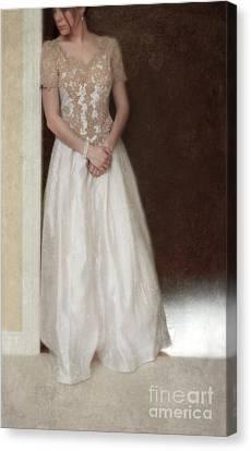 Lacy In Ecru Lace Gown Canvas Print by Jill Battaglia