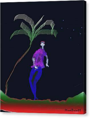 Canvas Print featuring the digital art Lad With A Flute by Asok Mukhopadhyay