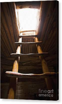 Ladder Of A Native American Cliff Dwelling Canvas Print by Bryan Mullennix
