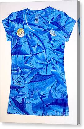 Ladies Gamefish Collage Shirt Canvas Print by Carey Chen