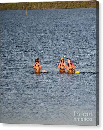 Ladies In Wading Canvas Print by Lynda Dawson-Youngclaus