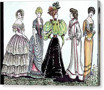 Ladies Of Fashion 1860 To 1910 Canvas Print by Mel Thompson