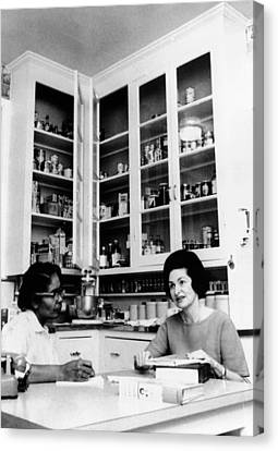 Lady Bird Johnson, In The Kitchen Canvas Print by Everett