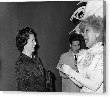 Lady Bird Johnson, Visiting Carol Canvas Print by Everett