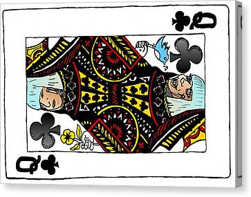 Lady Gaga Queen Of Clubs Poker Face Caricature Canvas Print by Yasha Harari