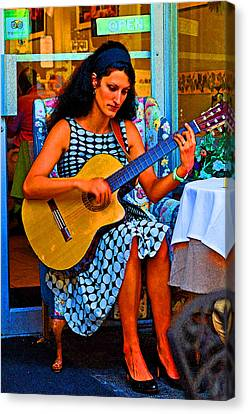 Lady Guitar Canvas Print by Peter  McIntosh