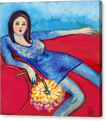 Lady In Blue Canvas Print by Kimberly Van Rossum