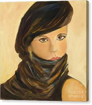 Lady In Brown Canvas Print