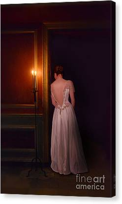 Lady In Candle Light Canvas Print