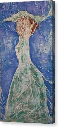 Canvas Print featuring the mixed media Lady In Green by Angela Stout