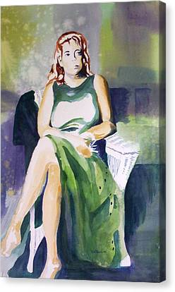 Canvas Print featuring the painting Lady In Green by Richard Willows