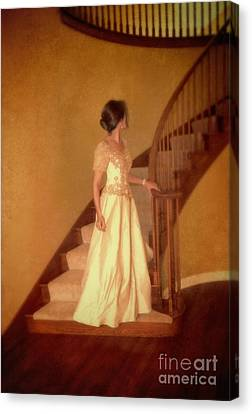 Lady In Lace Gown On Staircase Canvas Print by Jill Battaglia