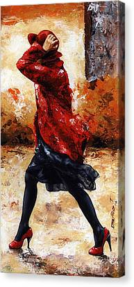 Lady In Red 28 Canvas Print by Emerico Imre Toth