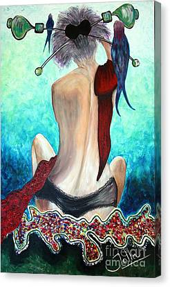 Lady In Red Canvas Print by Jolanta Anna Karolska