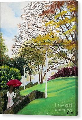 Lady In Red Umbrella - 1 Canvas Print by Seth Corda