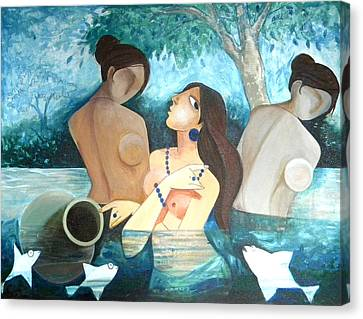 Fine Art India Canvas Print - Lady In The Pond by Shikha Agnihotri