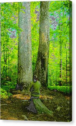 Lady In The Woods Canvas Print by David Lee Thompson