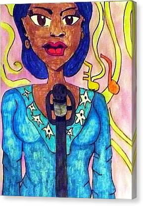 Lady Singer Canvas Print by Artists With Autism Inc