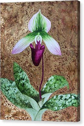 Lady Slipper Orchid With Gold Leaf Background Canvas Print by Kerri Ligatich
