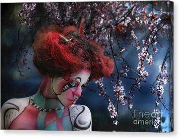 Canvas Print featuring the digital art Lady Spring Silence by Rosa Cobos