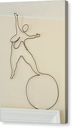 Sandy Calder Canvas Print - Lady With 1 Foot On The Ball   by Tommy  Urbans