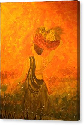 Canvas Print featuring the painting Lady With A Basket by Brindha Naveen