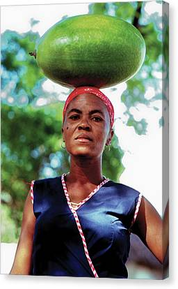 Lady With Calbace On Head Canvas Print