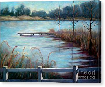 Canvas Print featuring the painting Lake Acworth Dock by Gretchen Allen