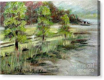 Canvas Print featuring the pastel Lake Acworth Fisherman by Gretchen Allen