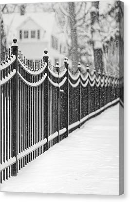 Lake Bluff Illinois, Iron Fence Covered With Snow Canvas Print by Trina Dopp Photography