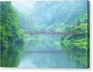 Lake Bridge In Fog Canvas Print by Noriyuki Araki