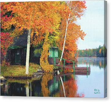 Lake Foliage Canvas Print by Richard Stevens