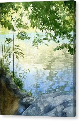 Canvas Print featuring the painting Lake Impression 2 by Eleonora Perlic
