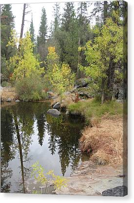 Lake In Sierras Canvas Print by Naxart Studio